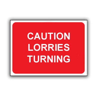 Caution Lorries Turning (T025)