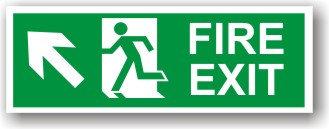 Fire Exit Arrow Up Left (H007)