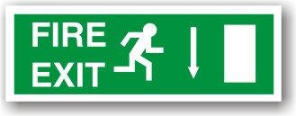 Fire Exit Arrow Down to EC (H020)