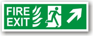 Fire Exit Up Right Flames (H030)