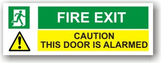 Fire Exit Caution Door Alarmed (H012)
