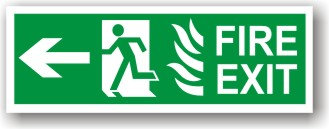 Fire Exit Running Man Flames Left to EC (H025)