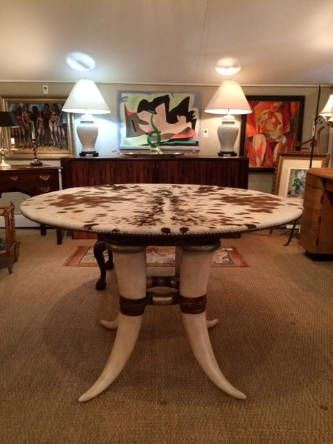 Bespoke Horn and Cowhide Table