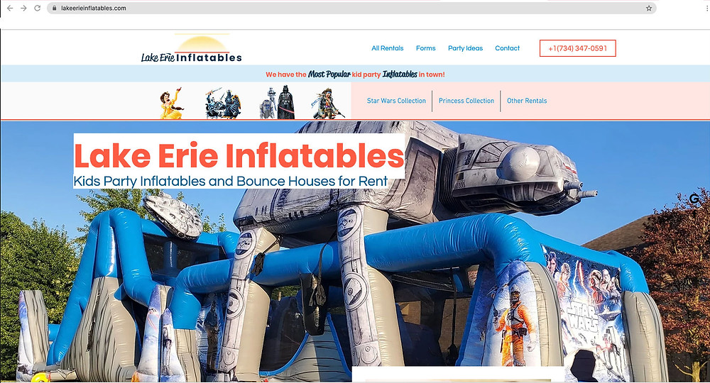Lake Erie Inflatables Website