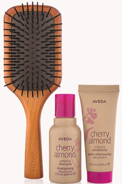 travel size cherry almond and brush set