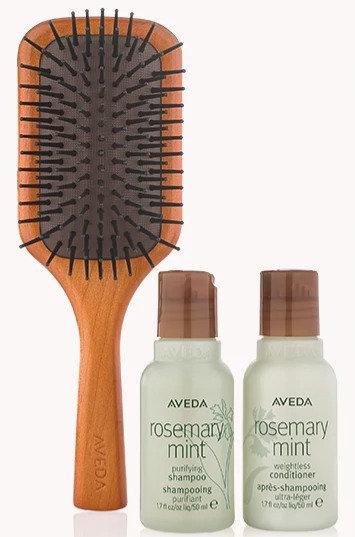 travel size rosemary mint and brush set