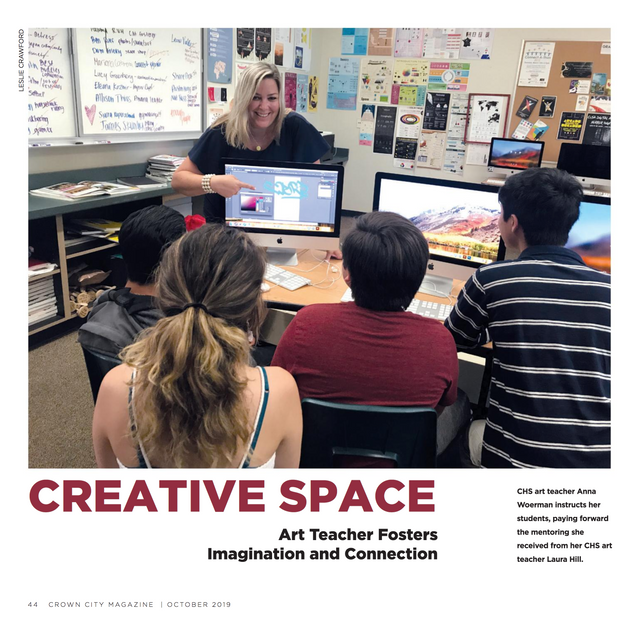 ARTICLE: Creative Space: Art Teacher Fosters Imagination and Connection Crown City Magazine, Oct 2019, Page 44