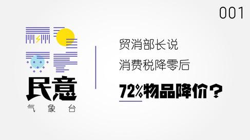 民意气象台#001: 消费税降至零后,72%物品降价,消费者怎么看?