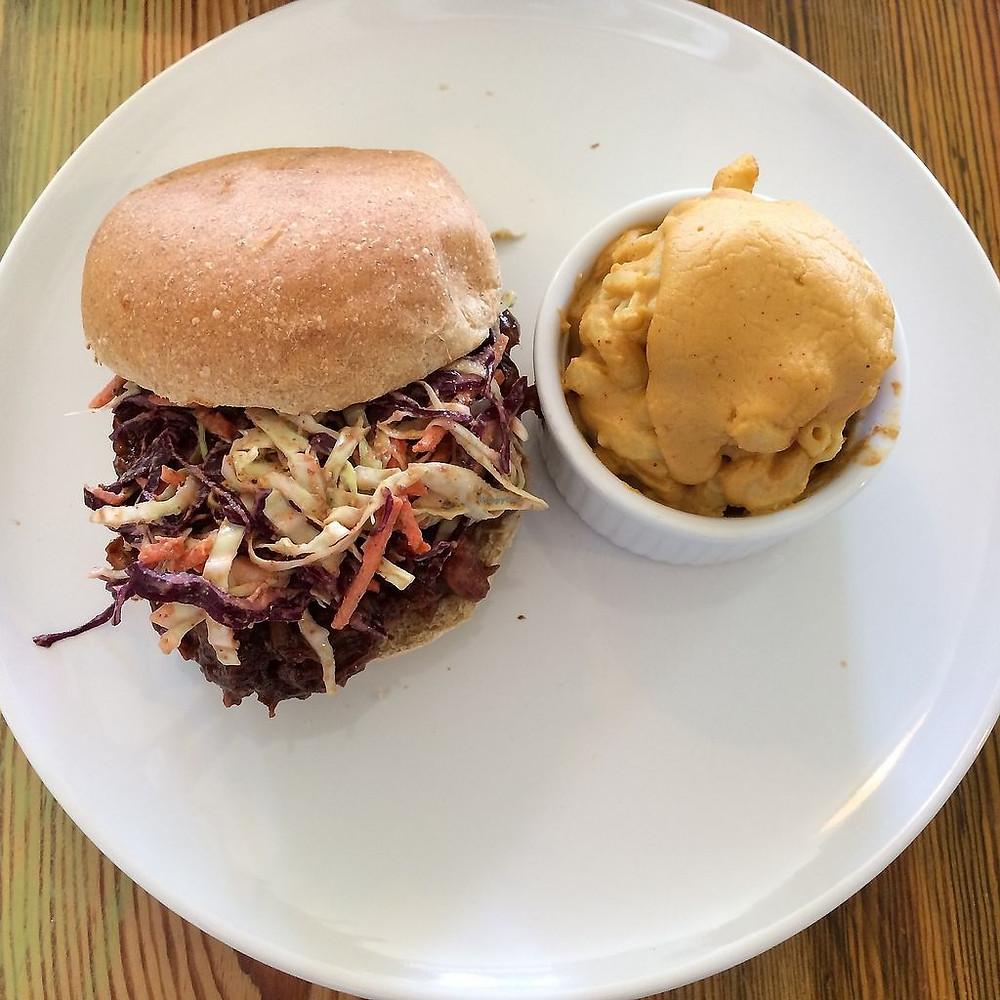 Vegan Beat Burger with side of vegan Mac n Cheese