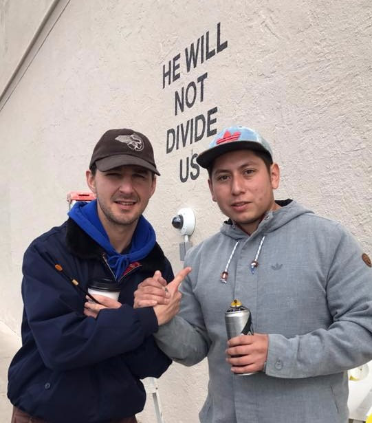 "Ramirez with Shia Labeouf on the ""He Will Not Divide Us"" project"
