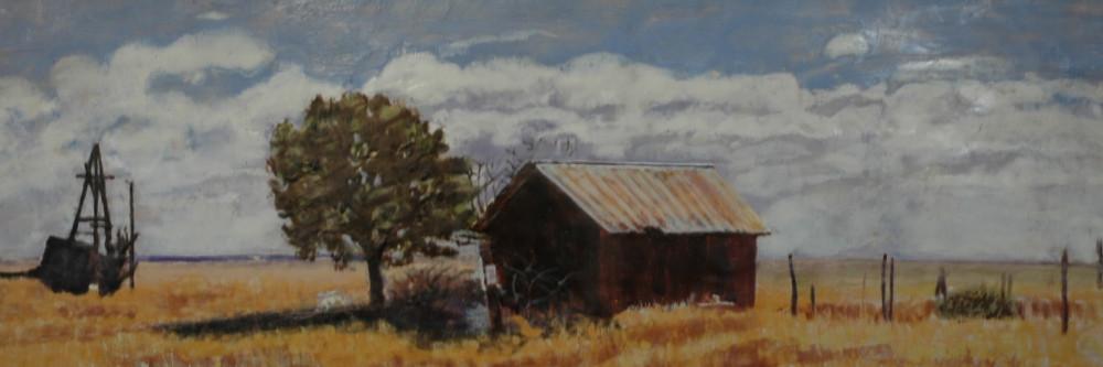 "Janet Pfeiffer ""No Parking"" : 58 3/8″ x 20 3/4″ : Encaustic on wood panel : 2015 : Framed : $2500"
