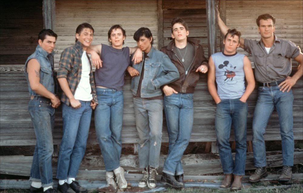 Macchio with Tom Cruise, Rob Lowe, C. Thomas Howell, Matt Dillon, Emilio Estevas and Patrick Swayze in The Outsiders (1983)
