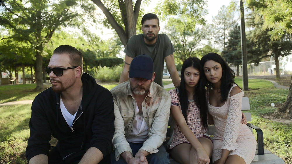 Midthunder with David Koechner (middle), Jim Parrack, Joel Smallbone, and Bianca A. Santos in Priceless (2016)