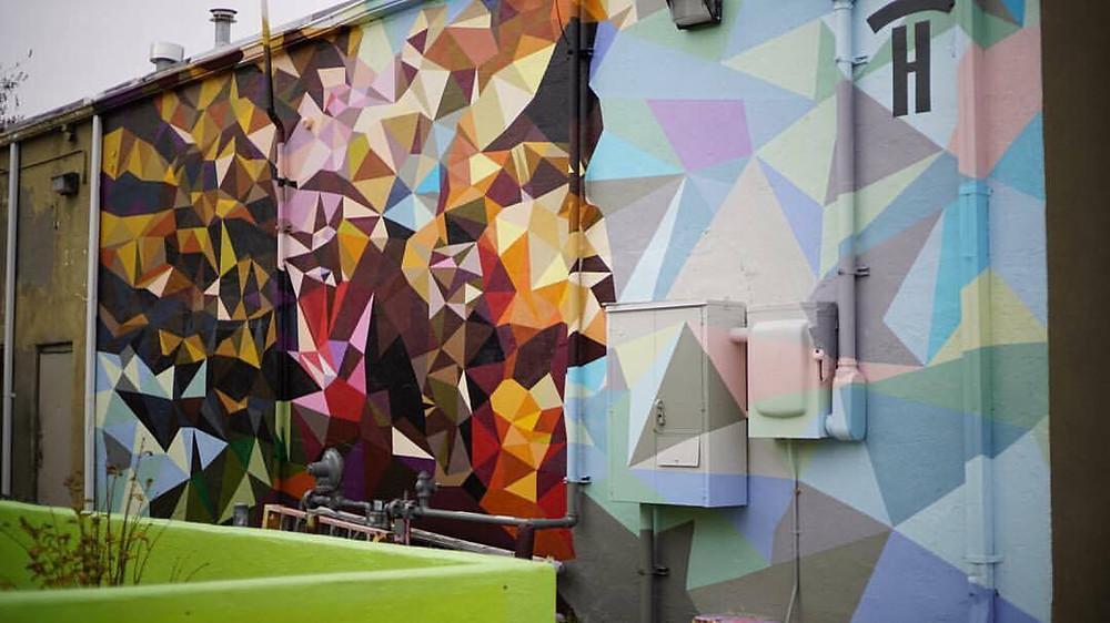 """Antiguo"", Exterior Acrylic Latex Paint/Aerosol on Masonry, 35ft x 15ft"