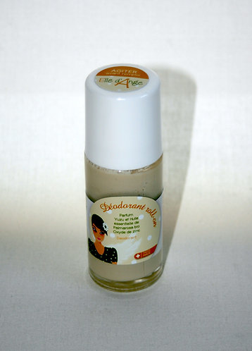 Déodorant roll-on,  Parfum Yuzu et Huile essentielle de Palmarosa bio