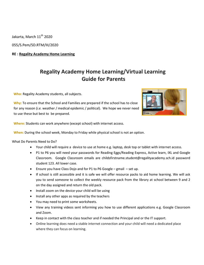 Regality Academy Parent Guidelines for Online Teaching 2020