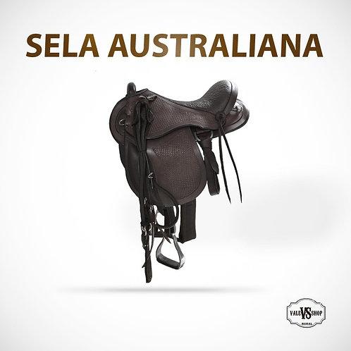 Sela P/ Cavalo Australiana Cor Marrom Com Cabeçada E Rédea