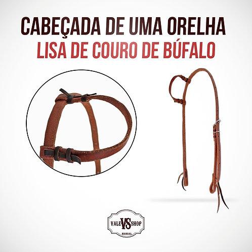 Cabeçada lisa de uma orelha para cavalos, couro de búfalo!