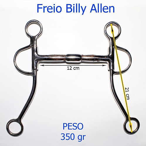 Freio Bridão Billy Allen De Inox Com Bocal De Ferro