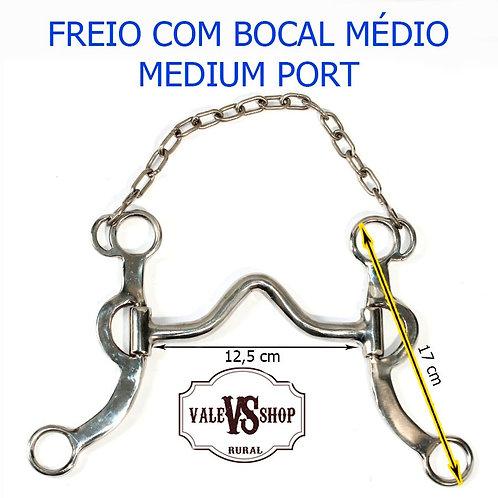 Freio Com Bocal Medium Port De Ferro Pernas Inox E Barbela