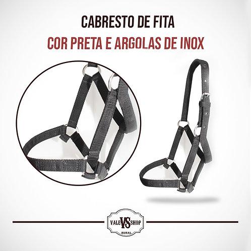 CABRESTO DE FITA, COR PRETA, ARGOLAS DE INOX LISAS