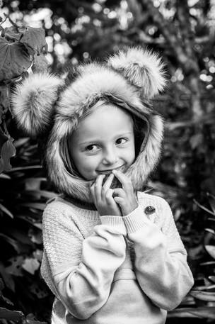 black & white girl in cute hat