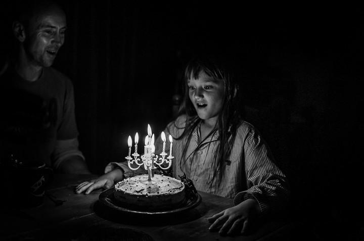 black and white birthday girl