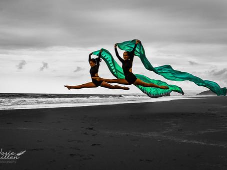 Dancers on Mangawhai Beach