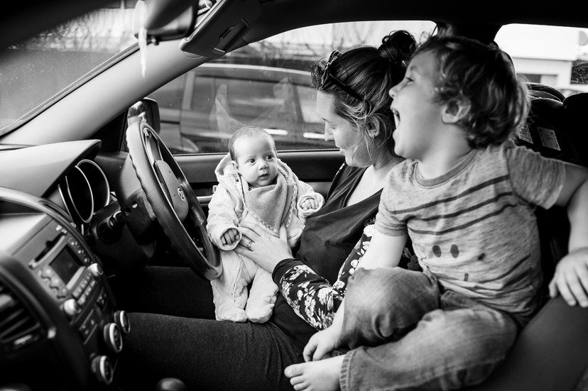 In the car again