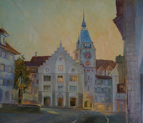 Kolinplatz, evening lights of Zug