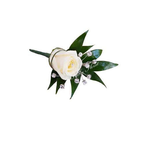 White Rose Diamante Buttonhole.