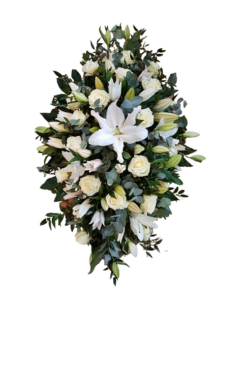 Oriental Lilies and Roses Casket Spray