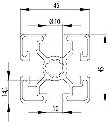 Perfil de aluminio estructural 40x40 compatible Bosch│Sistema Modular de Aluminio│Perfil 45x45│
