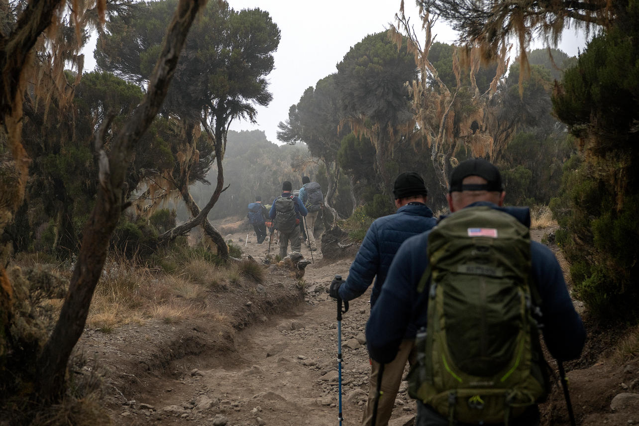 KCC team members continue their decent to Mweka gate on August 11, 2021 during their last day of an eight-day climb to summit Mount Kilimanjaro. Nine of the twelve KCC team members summited the mountain at 8:15 am the day before.