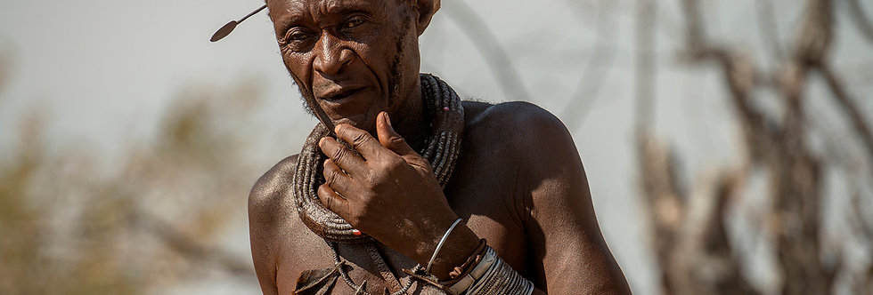 """Himba Chief, """"The Red People"""", Kunene Region, Namibia Africa. August 2015."""