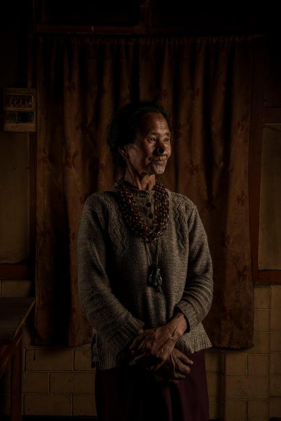 Michi Modii, 60. She lives in Hong Village, Ziro, India.