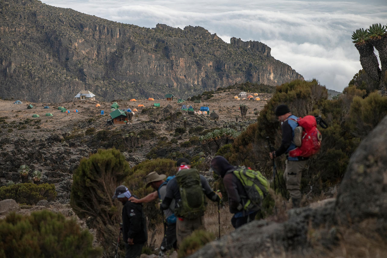 KCC team members make it to Barranco Camp which is at an altitude of 13,044 ft on August 7,2021 during day four of an eight-day climb to summit Mount Kilimanjaro.