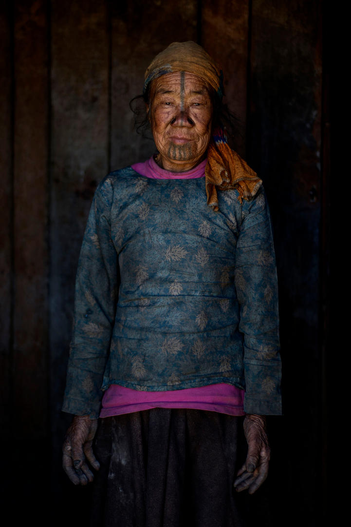 Punyo Pui, 80's. She lives in Hong Village, Ziro, India.
