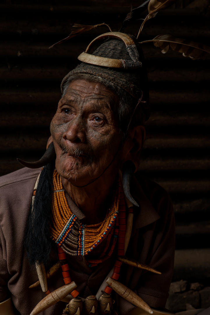 Gokpon, 80, taken 3 heads. He is from the Hongphoi Village, Mon District, Nagaland, India.