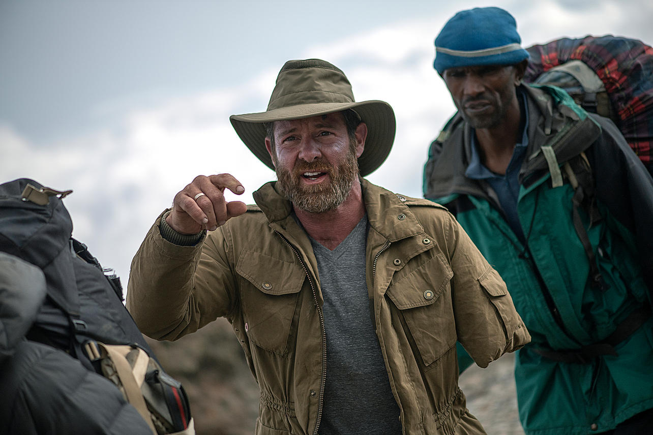 Noah Galloway treks through Kilimanjaro's alpine desert making his way to Barranco camp on August 7, 2021 during day four of an eight-day climb to summit Mount Kilimanjaro.