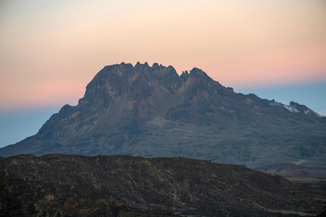 Mawenzi Peak on August 8, 2021 during day five of an eight-day climb to summit Mount Kilimanjaro.