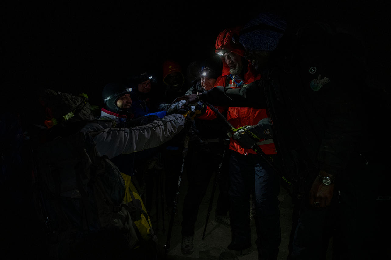 After 20+ hours of rest and acclimation at Barafu Camp (base camp) the KCC team members set out to summit Uhuru Peak with an elevation of 19,342 ft at 12:00 am on August 10, 2021 during day seven of an eight-day climb to summit Mount Kilimanjaro.