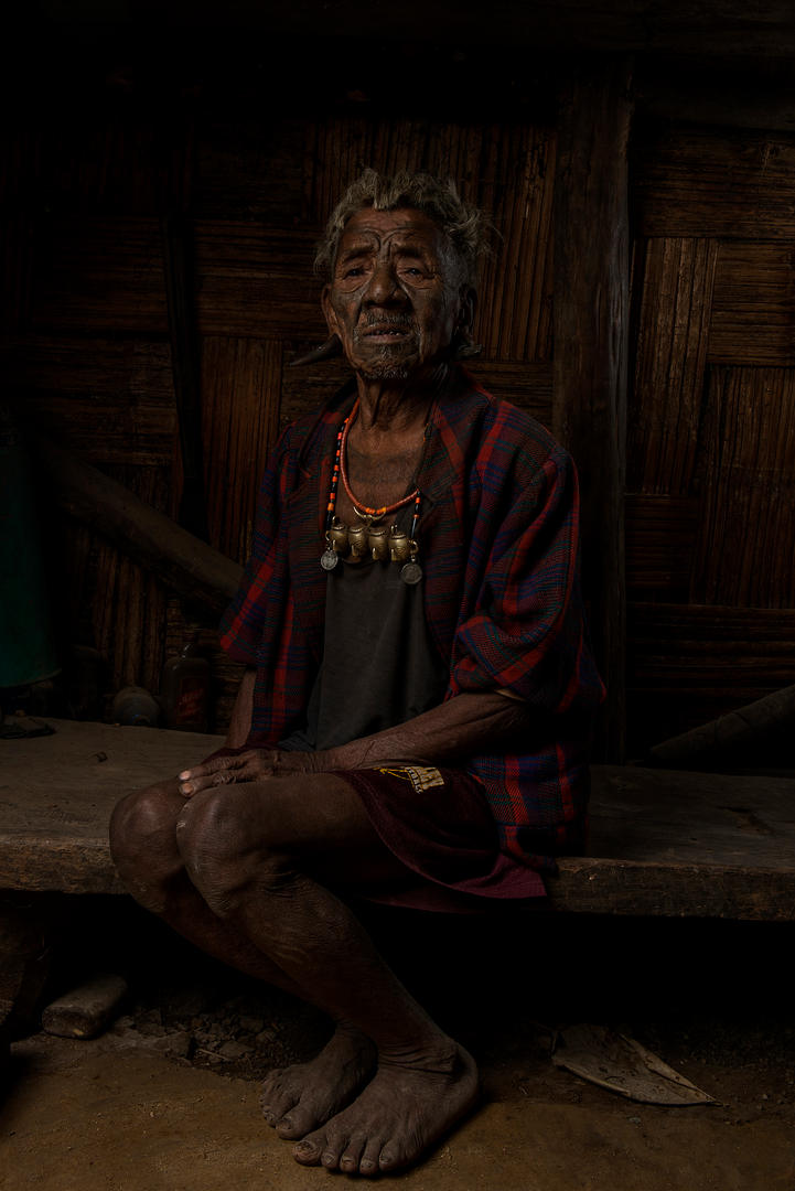 Longshok, 82, taken 4 heads. He is from the Hongphoi Village, Mon District, Nagaland, India.