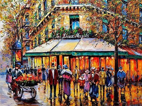 """Limited Edition on canvas """"Les Deux Magots"""""""
