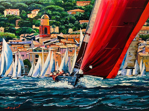 "Limited Edition on canvas ""Saint Tropez Les Voiles"""