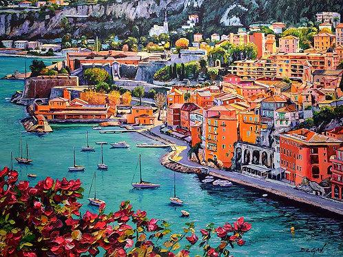 """Limited Edition on canvas """"La Baie de Villefranche sur Mer"""""""