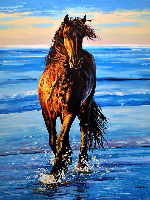 "Limited Edition on canvas ""Cheval sur la plage"""