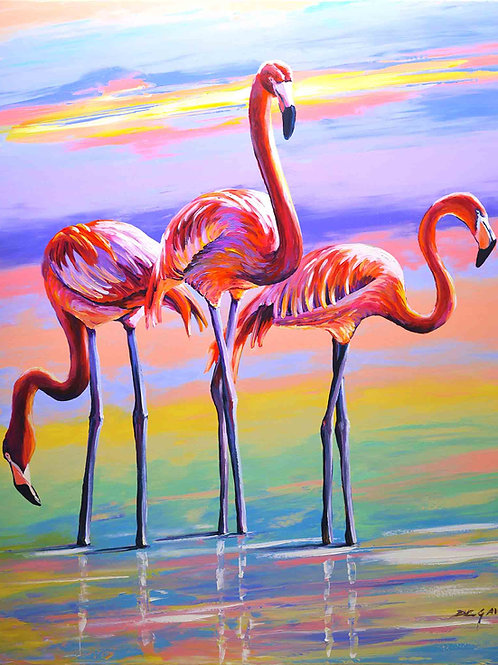 "Limited Edition on canvas ""Les Flamants roses"""