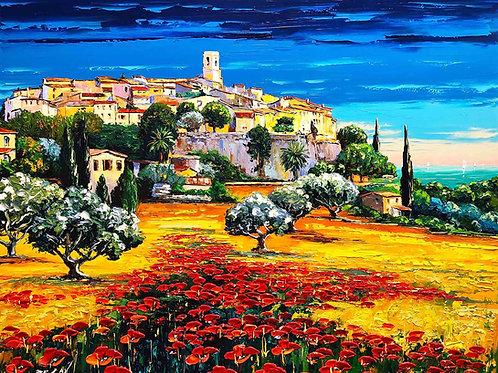 """Limited Edition on canvas """"Saint Paul de Vence aux Coquelicots"""""""