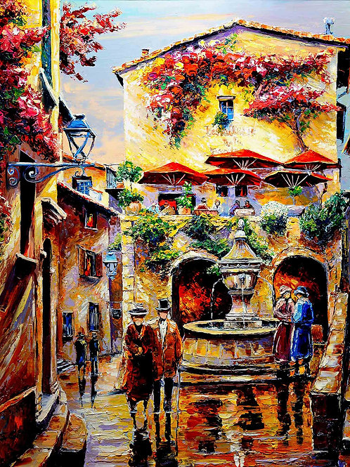 "Limited Edition on canvas ""La Fontaine de Saint Paul de Vence"""